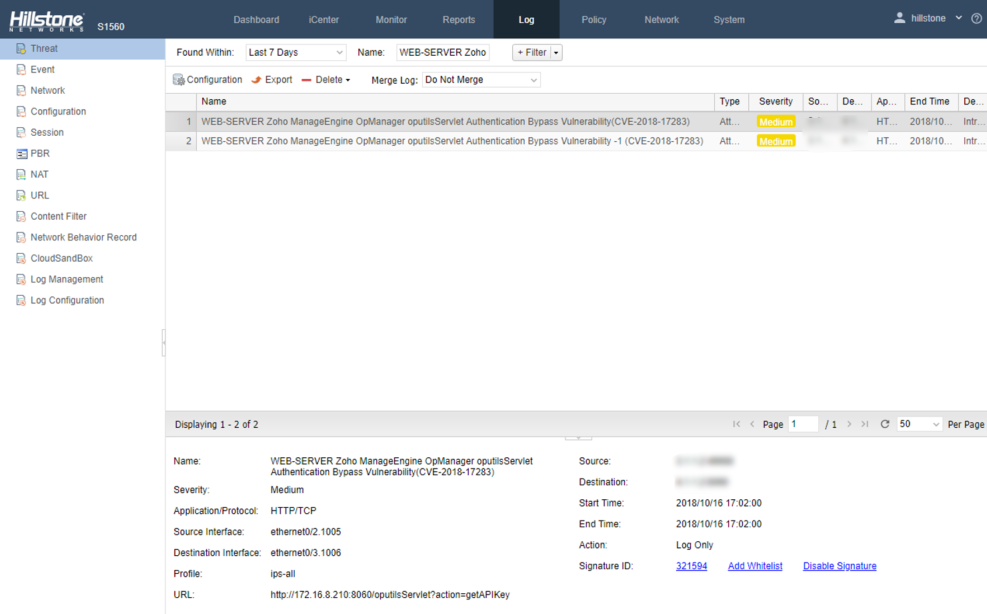 Vulnerability Notification: Zoho ManageEngine OpManager